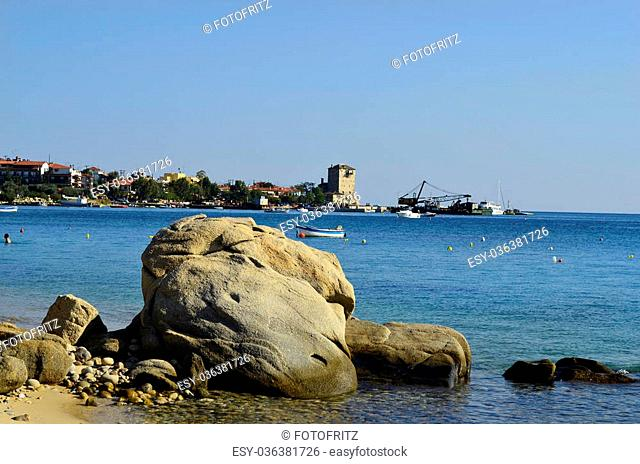 Greece, Ouranoupoli village with medieval tower