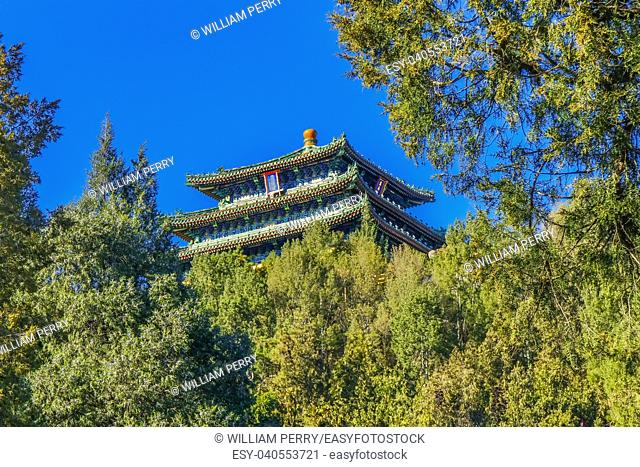 Prospect Hill Pagoda Pavilion Jingshan Park Beijing, China. Part of the Forbidden City, later a separate park, built in 1179
