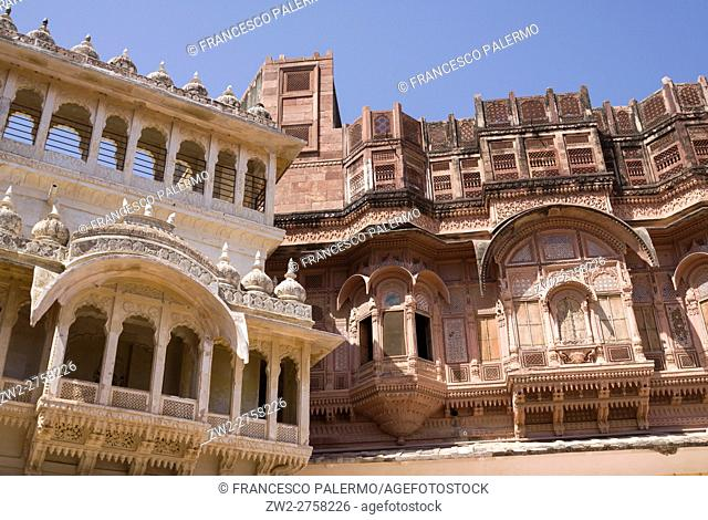 Different views of the magical Mehrangarh Fort. Jodhpur, Rajasthan. India