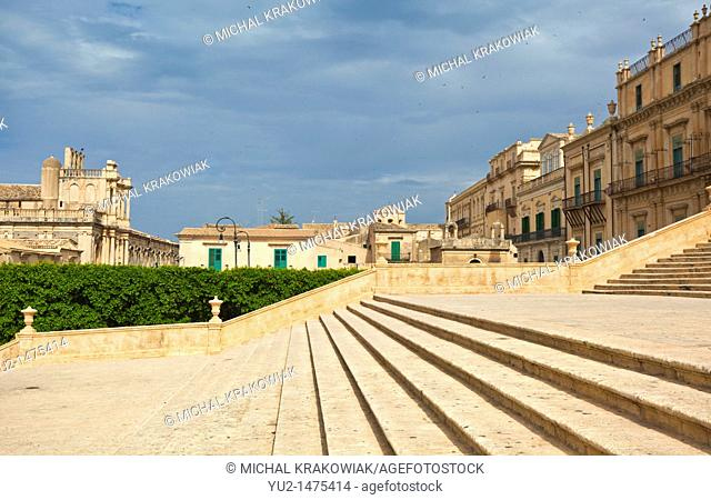 Steps of Cathedral of Noto Sicily, Italy