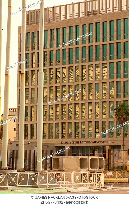 The front of the United States Embassy seen from The Malecon (Maceo Avenue) in Vedado, Havana, Cuba
