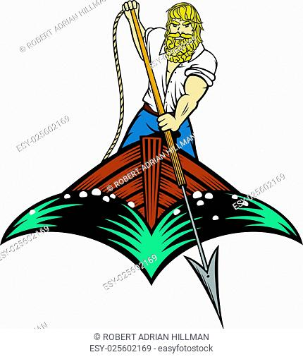 Editable vector illustration of a man about to throw a harpoon from a boat in woodcut style