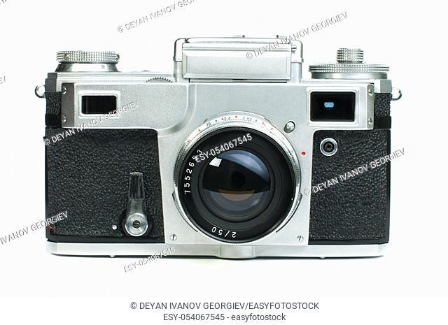 Old vintage camera white isolated. Studio shot