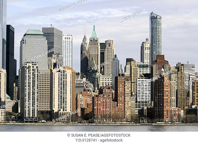 Manhattan buildings viewed from the Hudson River