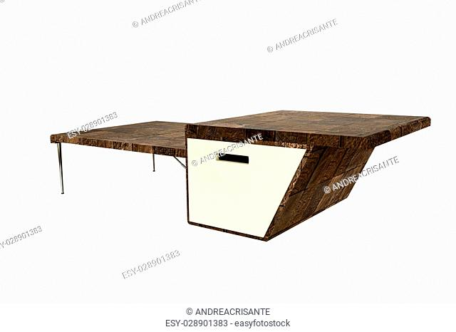 3d illustration of a coffee table isolated on white background