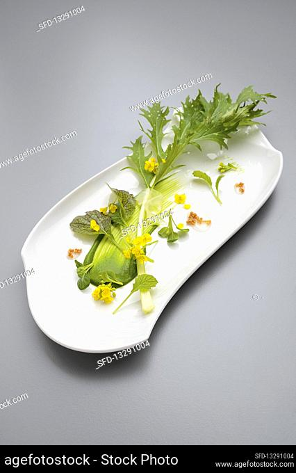 Mustard leaves with pickled tsamma melon and spinach cream