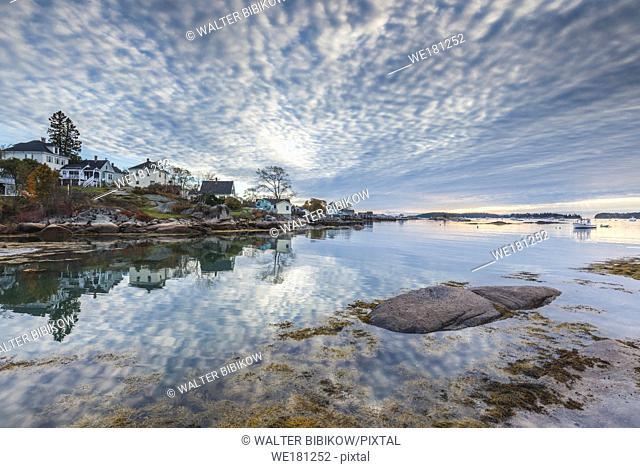 USA, Maine, Stonington, Stonington Harbor, dawn