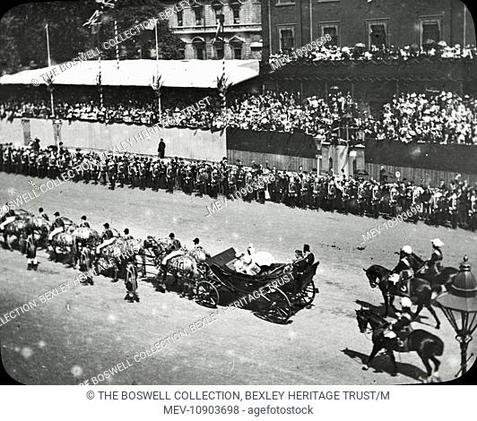 Queen Victoria's Diamond Jubilee - Black and white Victorian lantern slide of Queen Victoria's horse drawn carriage passing through large crowds at Whitehall