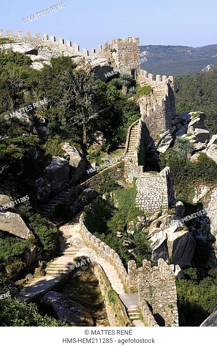 Portugal, Centro region, Sintra, Castelo dos Mouros Castle of the Moors, listed as World Heritage by UNESCO