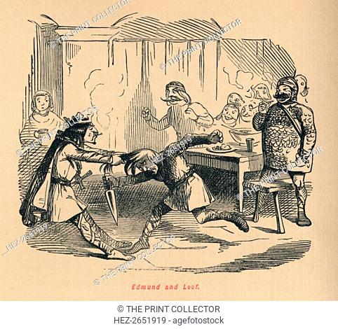 'Edmund and Leof', c1860, (c1860). From The Comic History of England, Volume I, by Gilbert A A'Beckett. [Bradbury, Agnew, & Co., London]