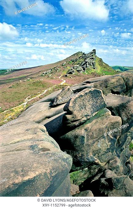 Ramshaw Rocks gritstone escarpment  Peak District National Park near The Roaches and the town of Leek, Staffordshire, England