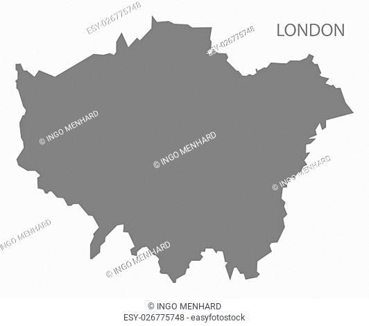 Grey county map of England, London
