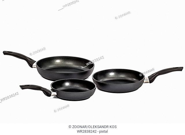 Three frying pans, isolated on white background