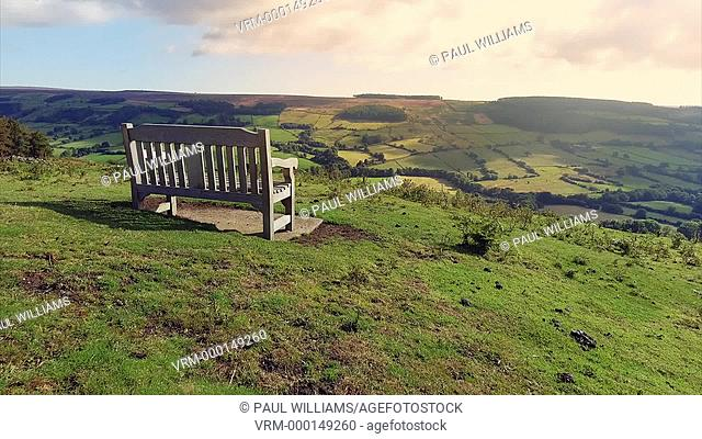 Old iron ore mine kilns of Chimney Bank with flowering heather -Rosedale, North Yorkshire Moor National Park, England