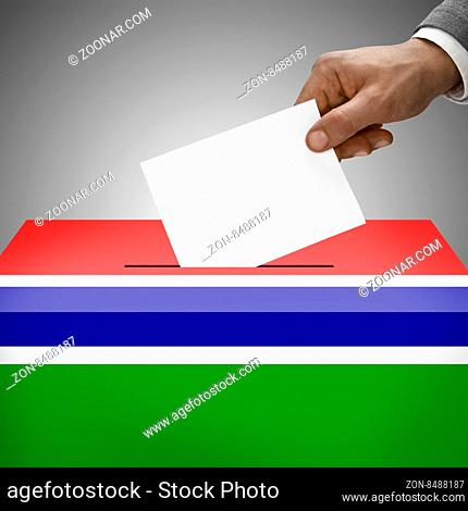 Ballot box painted into national flag colors - Gambia