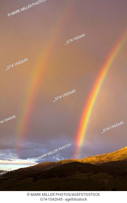 Rainbow in Montana overlooking Yellowstone National Park USA