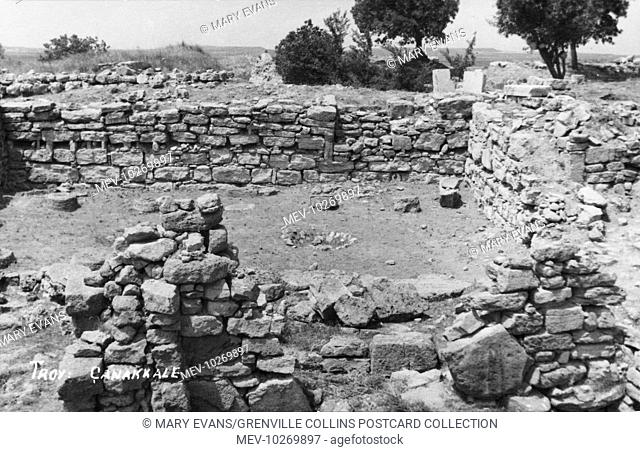 The visible ruins at the site of Hissarlik, excavated by German Archaeologist Heinrich Schliemann. Schliemann discovered what he thought were the Homerian...