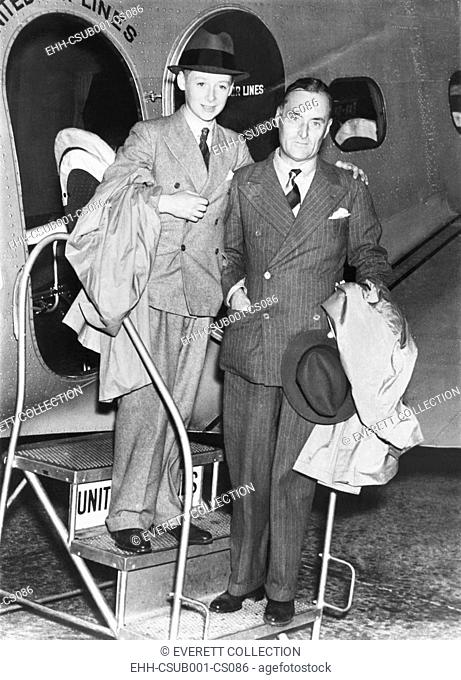 Sir Malcolm Campbell and his son Donald arrive in Salt Lake City. The elder Campbell set his final land speed record, 301