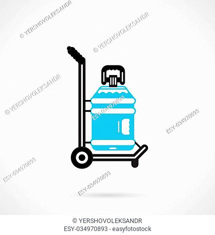 Black and blue color flat design vector icon for truck with large bottle with label for potable water delivery service on white background