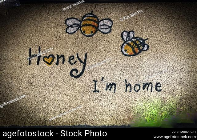Honey I'm home. A play on words. Honey, literally, made by bees, and also a term of endearment used by humans