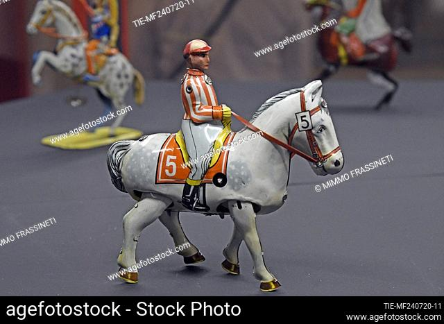 Horse with rider in the exhibition titled ' Per gioco' from the collection of antique toys of the Capitoline Superintendence