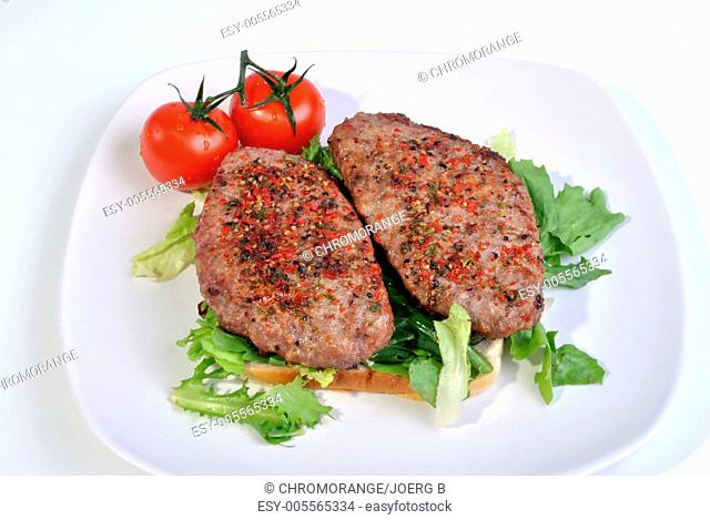 fresh peppered lamb grill steak and organic tomato