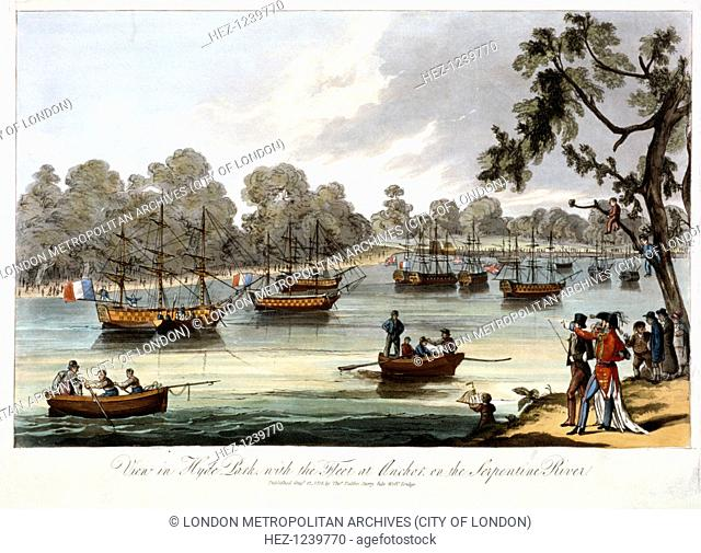 Hyde Park, London, 1814. View of a series of naval engagements which were re-enacted in miniature on the Serpentine in Hyde Park during the peace celebrations...
