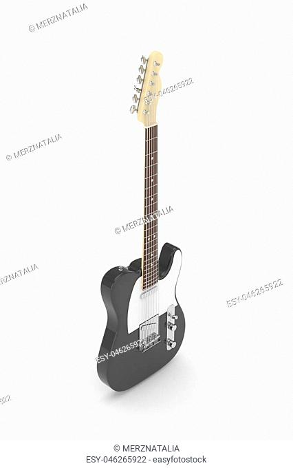 Isolated black electric guitar on white background. Musical instrument for rock, blues, metal songs. 3D rendering