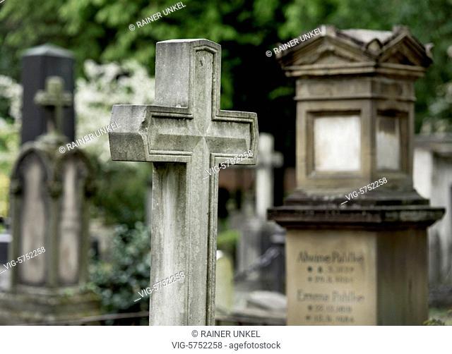 GERMANY : Holy crosses on a cemetery , 21.04.2017 - Bonn, Northrhine-Westfalia, Germany, 21/04/2017
