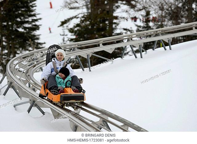 France, Vosges, La Bresse, La Bresse Hohneck ski area, sled on rails