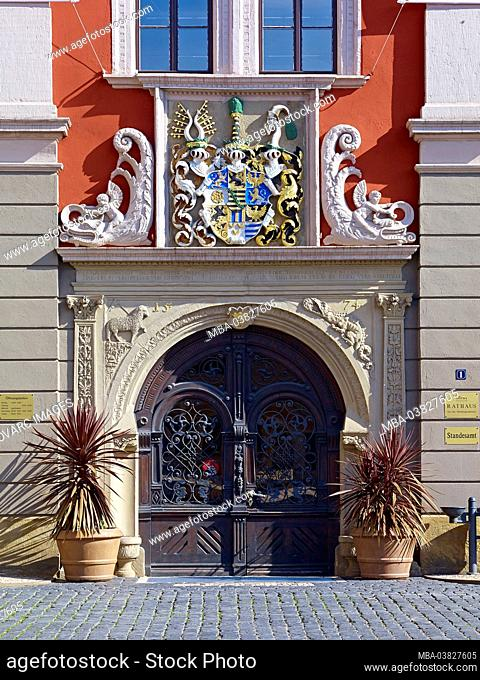 Portal of the town hall on the main market in Gotha, Thuringia, Germany