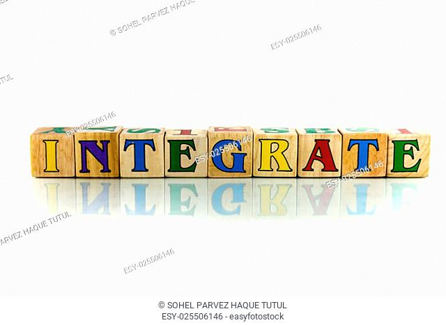 integrate colorful wooden word block on the white background