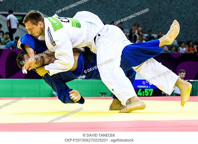 Lukas Krpalek (in white) from Czech Republic and Elkhan Mammadov from Azerbaijan fight during the Men's Judo under 100kg in Heydar Aliyev Arena at the Baku 2015...