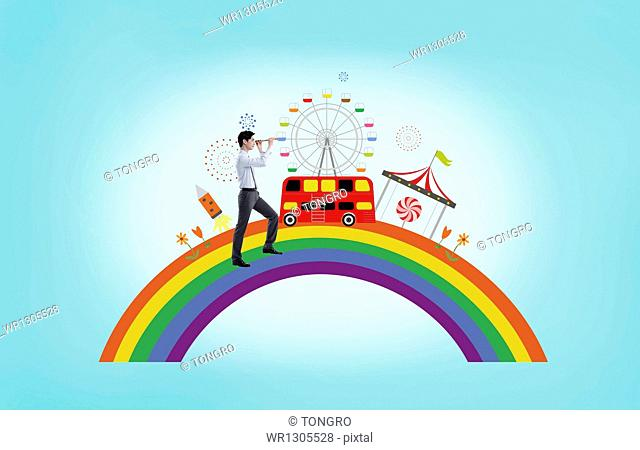 a man standing on an illustrated rainbow