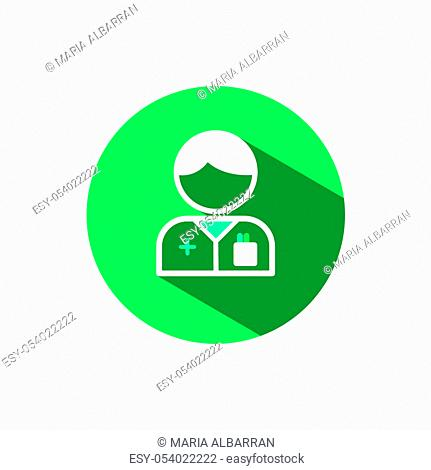 Pharmacist man icon with shadow on a green circle. Flat color vector pharmacy illustration