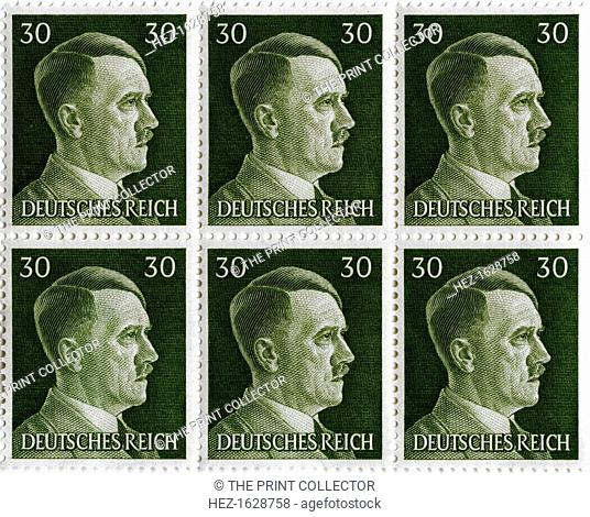 Set of postage stamps featuring Adolf Hitler (1889-1945), 1941-1942. Hitler was appointed Chancellor of Germany in 1933 and became Führer in 1934