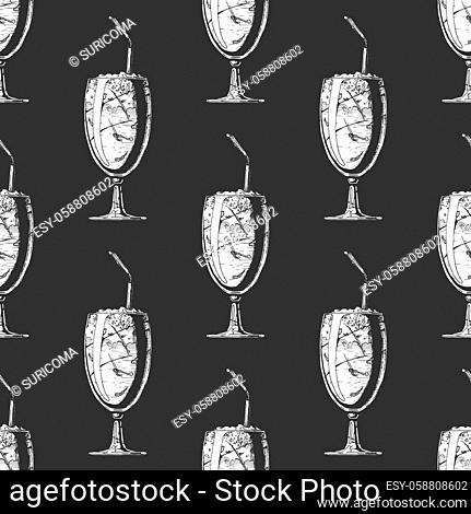 Seamless pattern with milkshake in vintage engraved style. On black background