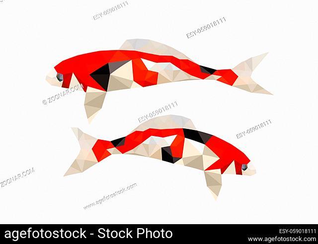 Illustration of two origami koi fish