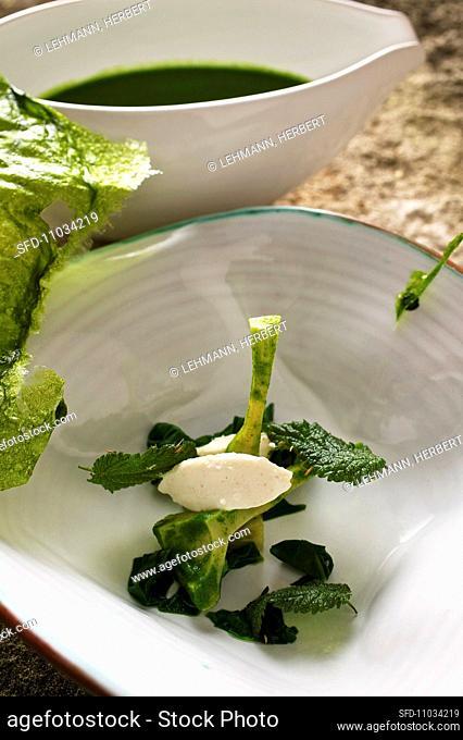 Nettle soup with fish dumpling