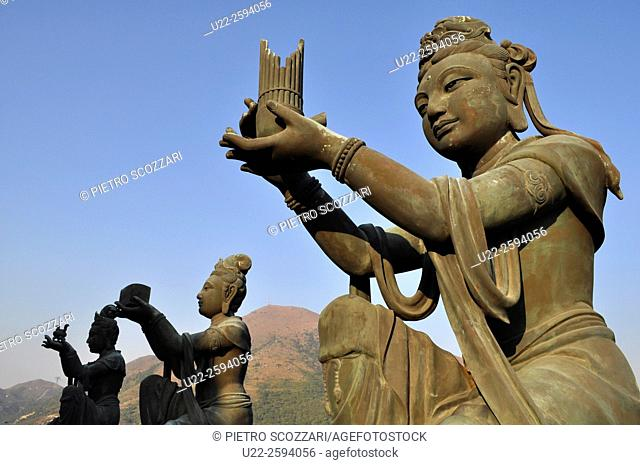 Hong Kong: Buddhist statues in Po Lin, on Lantau Island...