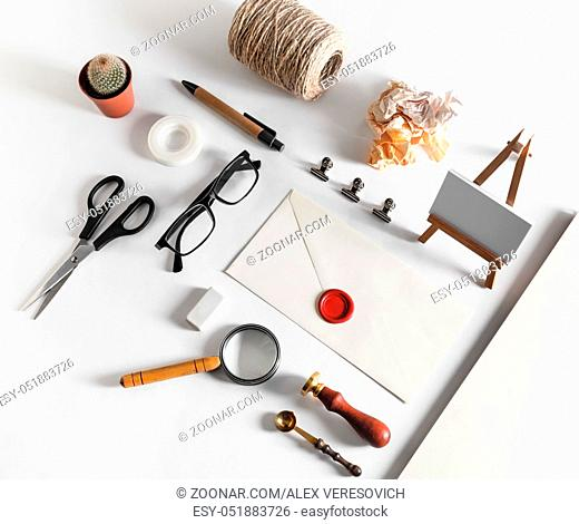 Blank vintage corporate stationery set on white paper background. Branding template. Objects for placing your design