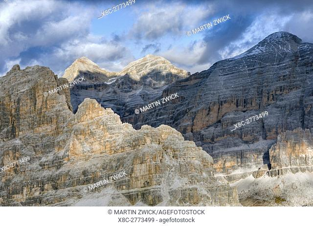 The Fanes Mountains and the peaks of the Tofane near Mount Lagazuoi in the Dolomites. The Dolomites are listed as UNESCO World heritage