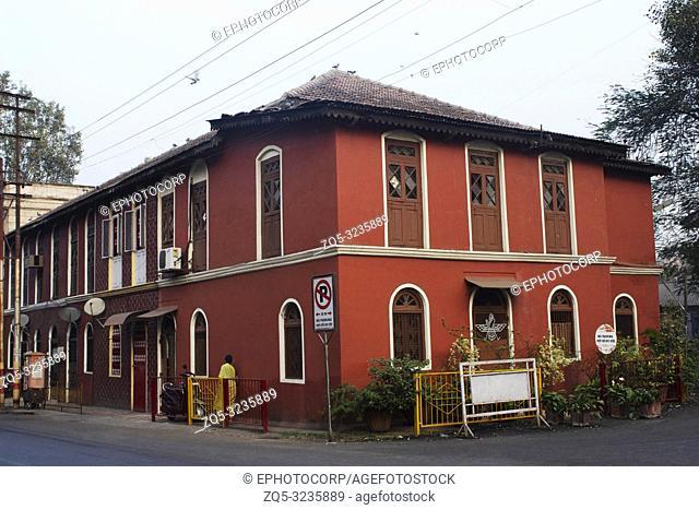 Red house on street, Pune, Maharashtra, India