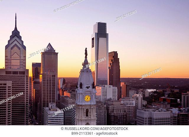 Downtown Skyline Philadelphia Pennsylvania Usa