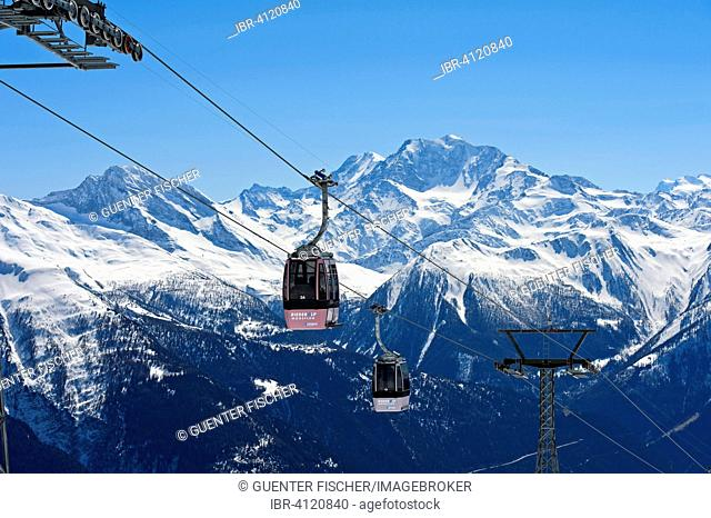 Gondola of the Moosfluh cable car in front of the Fletschhorn massif, Aletsch Arena, Riederalp, Canton of Valais, Switzerland