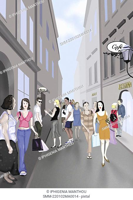 People on a shopping street