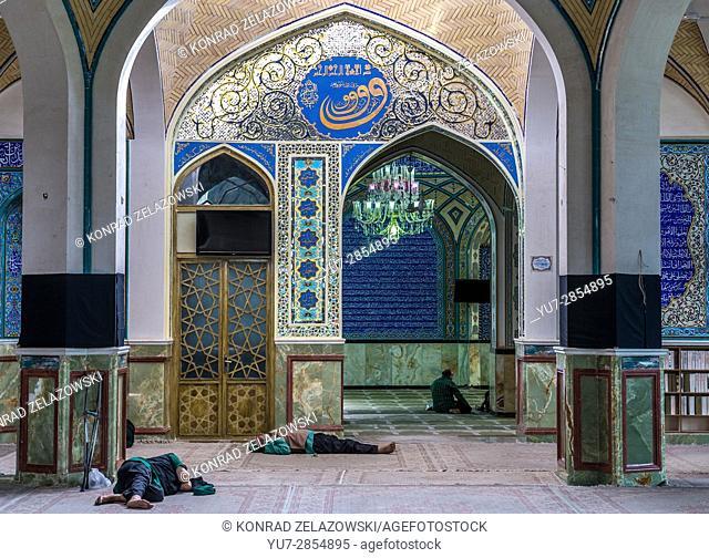 People resting in holy shrine of Imamzadeh Helal Ali (Hilal ibn Ali) in Aran va Bidgol, Isfahan Province in Iran