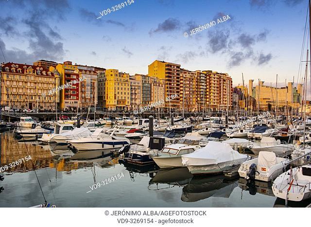 Marina Puerto Chico at sunset, Santander coast and Cantabrian Sea. Cantabria, Spain. Europe