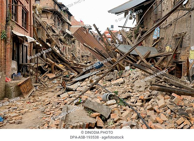 Residential building collapsed, earthquake, kathmandu, nepal, asia