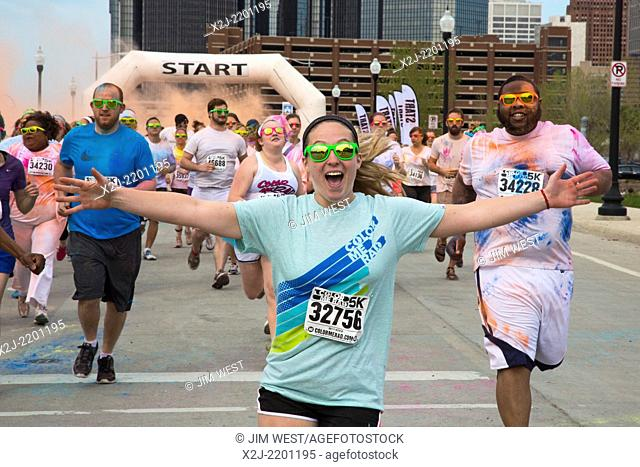 Detroit, Michigan - The Color Me Rad 5K run/walk, during which runners are blasted with colored corn starch. The run is held in cities across the United States...